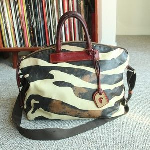 DOONEY BOURKE Zebra Leather Shoulder Hobo